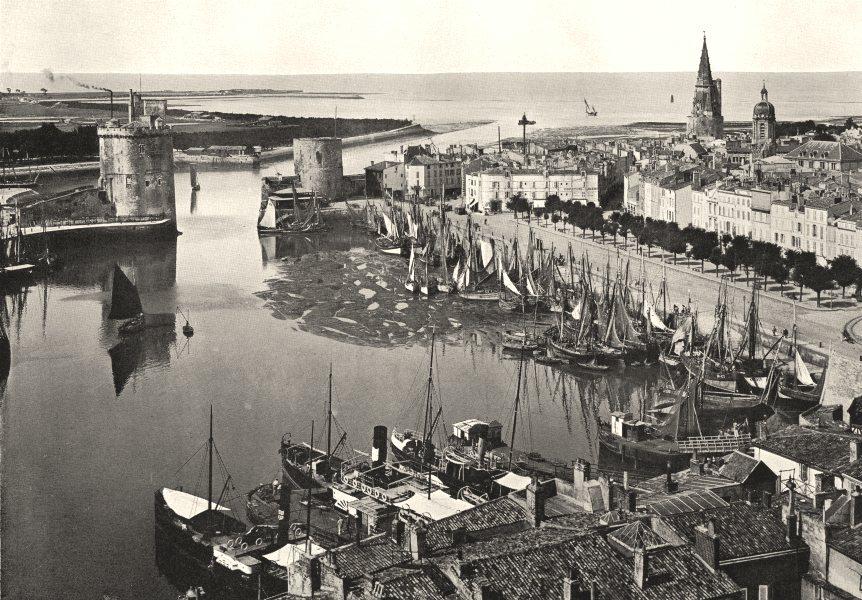 CHARENTE- MARITIME. Port de La Rochelle, A Marée basse 1900 old antique print