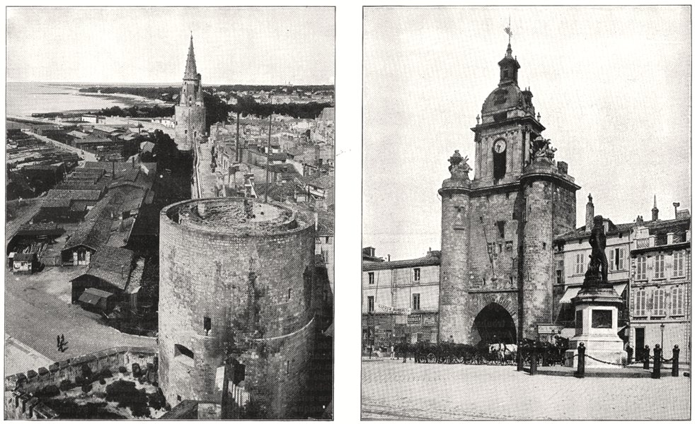 Associate Product CHARENTE- MARITIME. La Rochelle; Tour de L'horloge 1900 old antique print