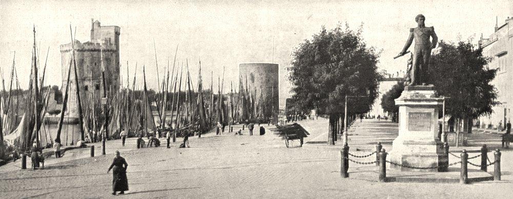 Associate Product CHARENTE- MARITIME. Rochelle. Quais port statue L'amiral Duperré 1900 print