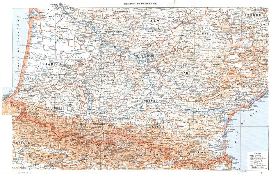 Associate Product PYRÉNÉES. Région Pyrénéenne 1900 old antique vintage map plan chart