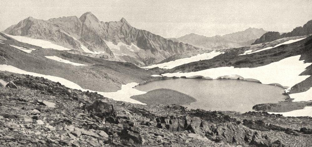 Associate Product HAUTES- PYRÉNÉES. Le lac Badet et le Néouvieille 1900 old antique print