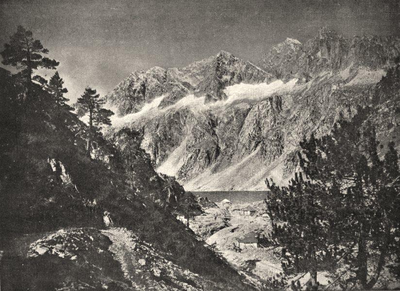 Associate Product HAUTES- PYRÉNÉES. Lac du Cap- de- long, Au pied du Néouvieille 1900 old print
