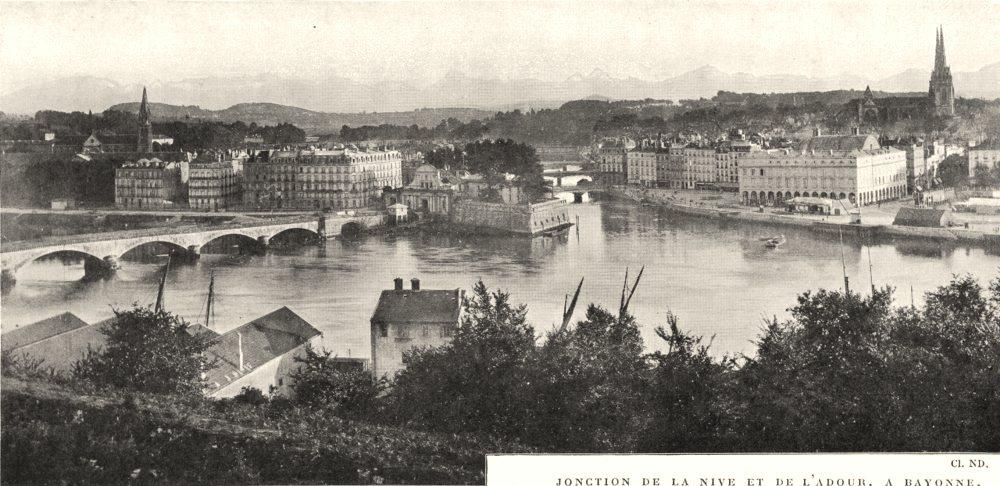Associate Product PYRÉNÉES- ATLANTIQUES. Jonction de la Nive et de L'adour, a Bayonne 1900 print