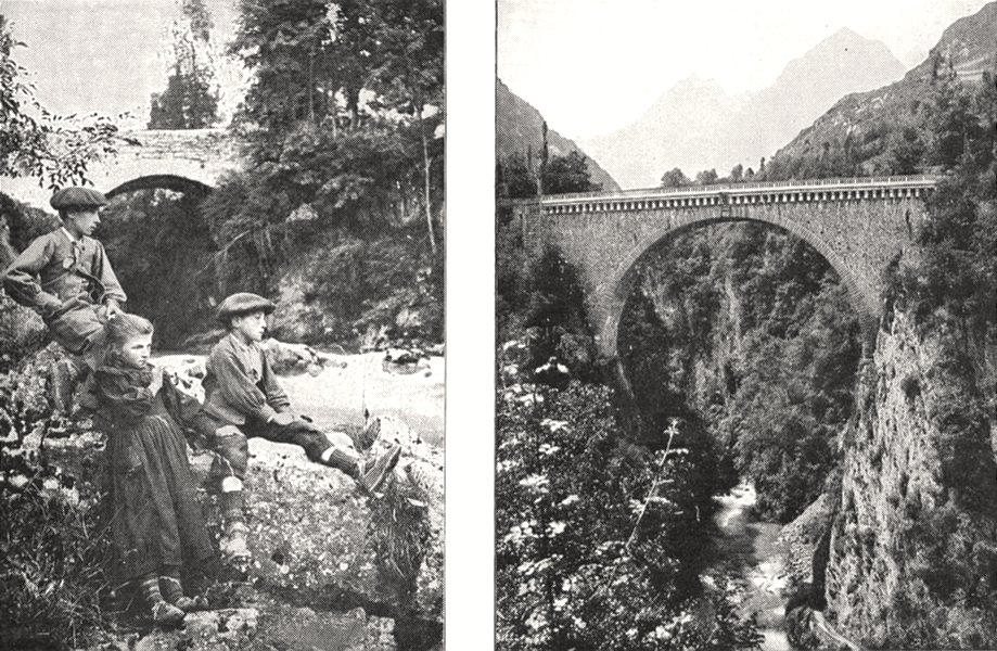 Associate Product HAUTES- PYRÉNÉES. Bords Gave; Pont Napoléon, Saint- Sauveur 1900 old print