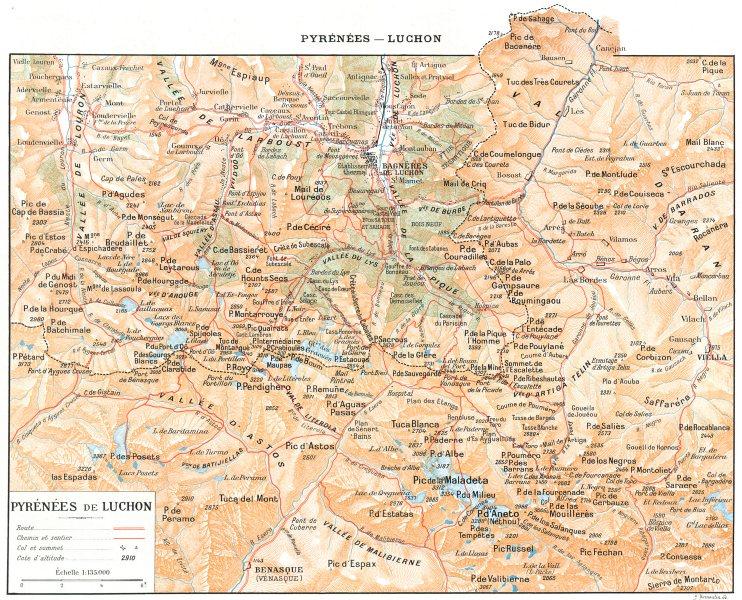 Associate Product HAUTE- GARONNE. Pyrénées de Luchon 1900 old antique vintage map plan chart