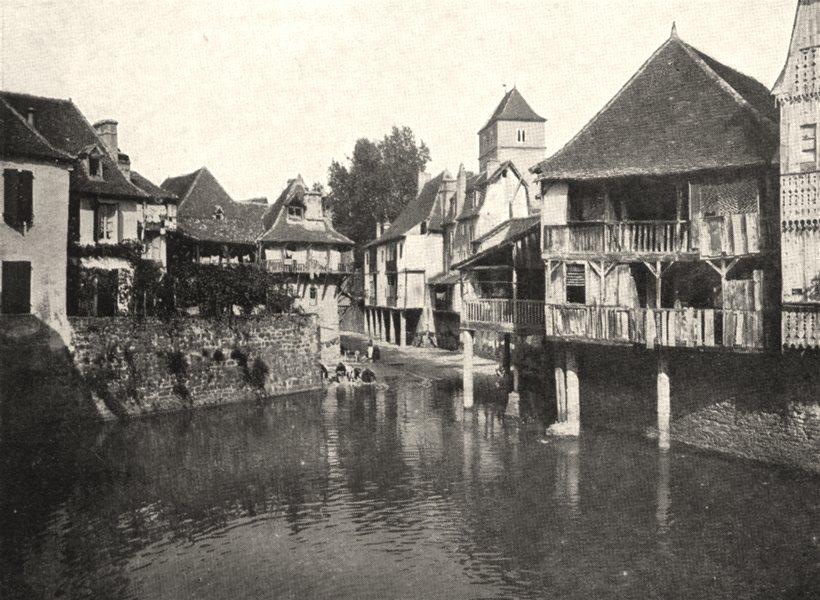 Associate Product PYRÉNÉES- ATLANTIQUES. Vieilles Maisons a Salies- de- Béarn 1900 old print