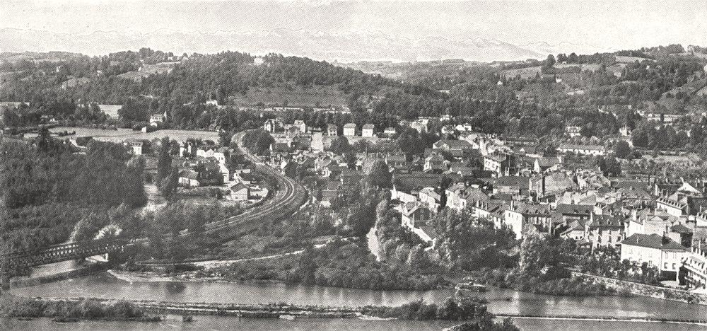 Associate Product PYRÉNÉES- ATLANTIQUES. Vallée du gave et Chaine des Pyrénées vues de Pau 1900