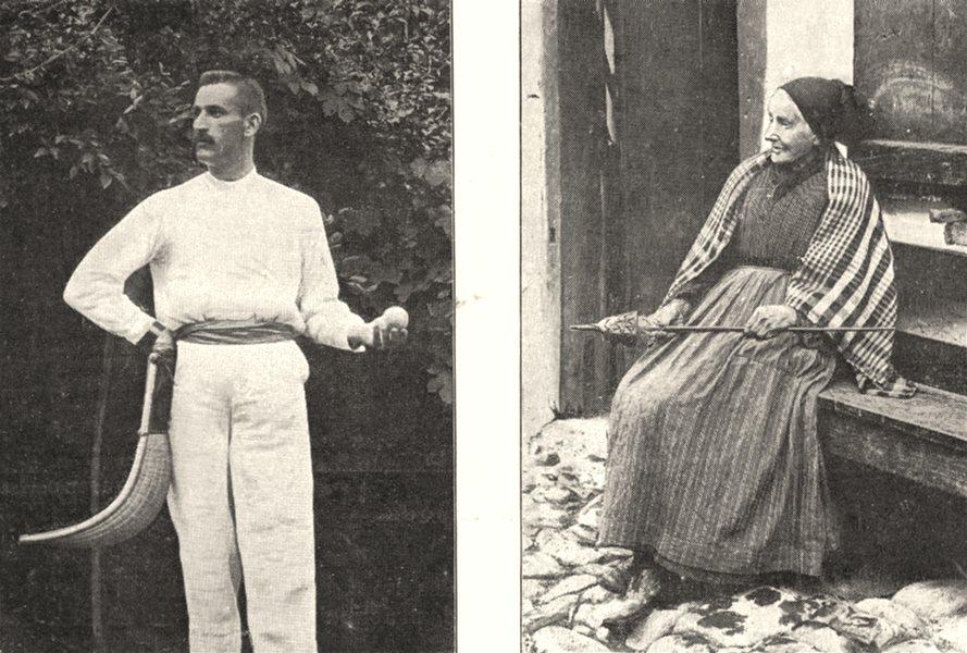Associate Product PYRÉNÉES- ATLANTIQUES. Joueur de Pelote; Une Vieille Basquaise 1900 old print