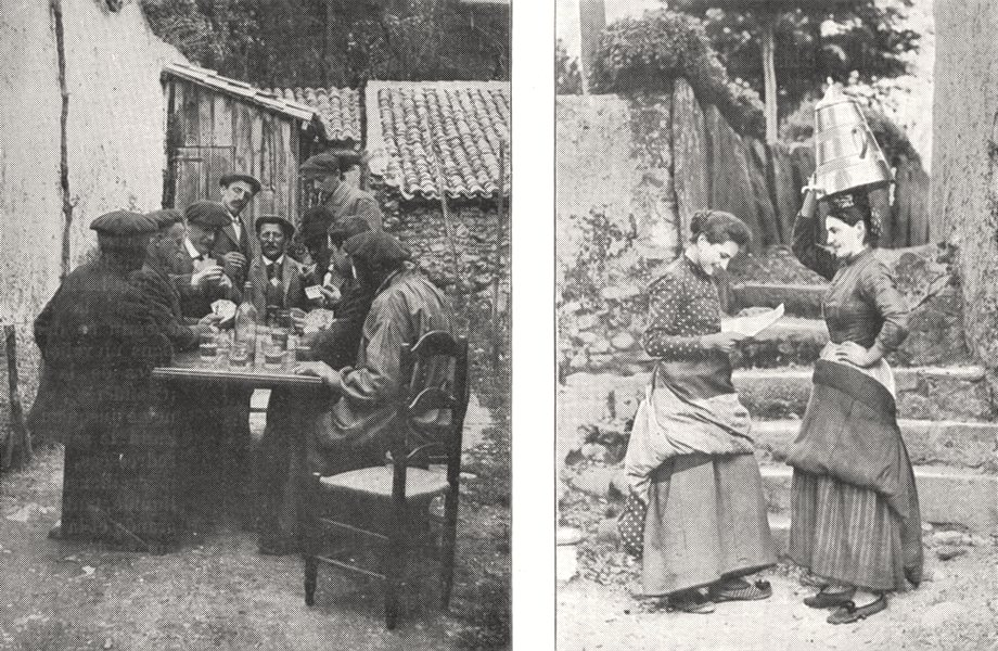 Associate Product PYRÉNÉES- ATLANTIQUES. Partie de cartes entre Basques; Deux Basquaises 1900