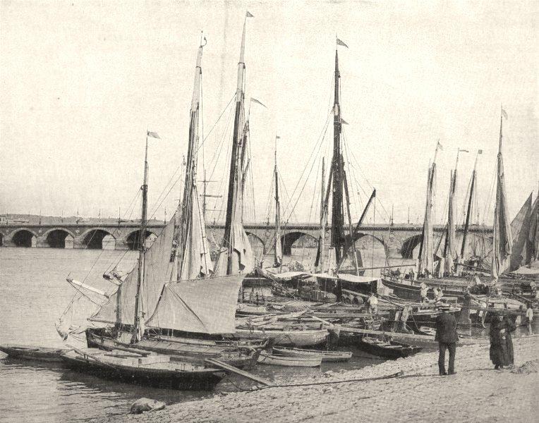 GIRONDE. Bordeaux. Quai de la Garonne et Grand- Pont 1900 old antique print