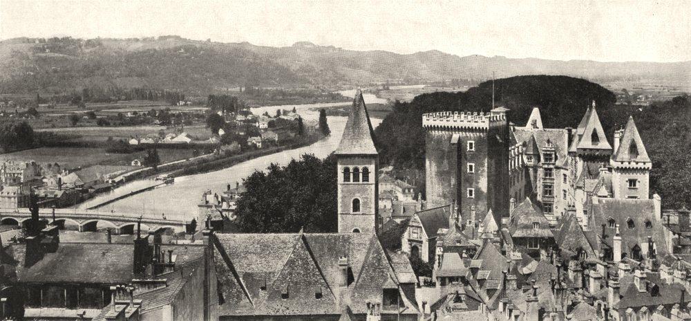 Associate Product PYRÉNÉES- ATLANTIQUES. Le Chateau et le Gave de Pau 1900 old print