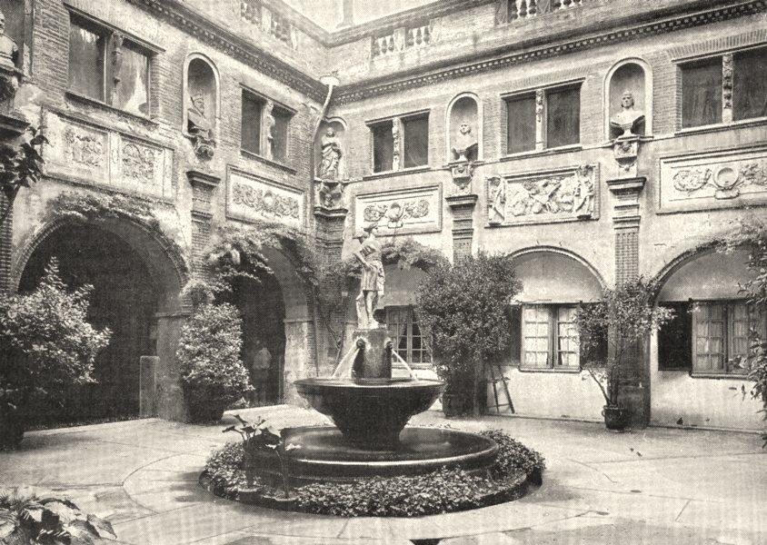 Associate Product HAUTE- GARONNE. Cour Intérieure du Musée de Toulouse 1900 old antique print