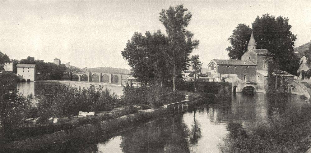Associate Product LOT. Cahors. Le Moulin de Coty et L'ancien Pont- neuf 1900 old antique print