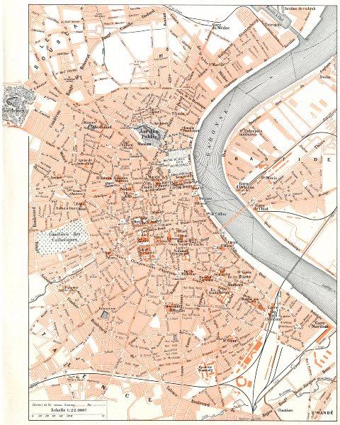 Associate Product GIRONDE. Bordeaux 1900 old antique vintage map plan chart