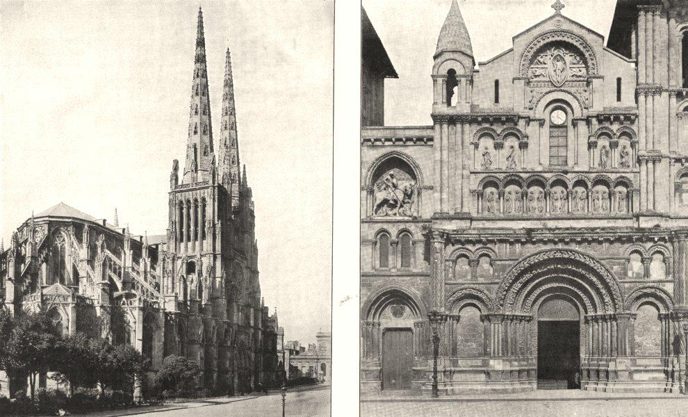 Associate Product GIRONDE. Bordeaux. Cathédrale Saint- André; Portail L'église Sainte- Croix 1900