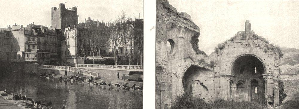 Associate Product AUDE. Le canal, a Narbonne; Ruines de la Cathédrale D'alet 1900 old print
