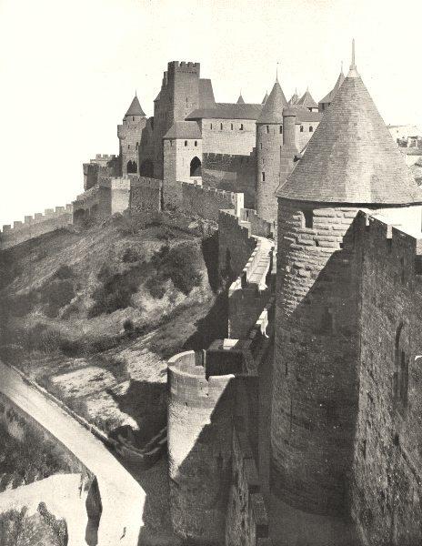 Associate Product AUDE. Cité de Carcassonne. Perspective du Chateau 1900 old antique print