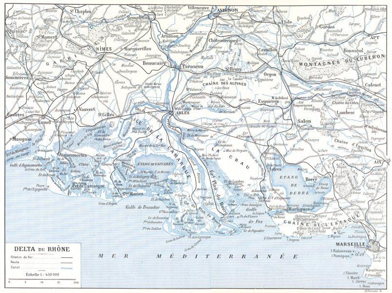 Associate Product RHÔNE. Delta du Rhône 1900 old antique vintage map plan chart