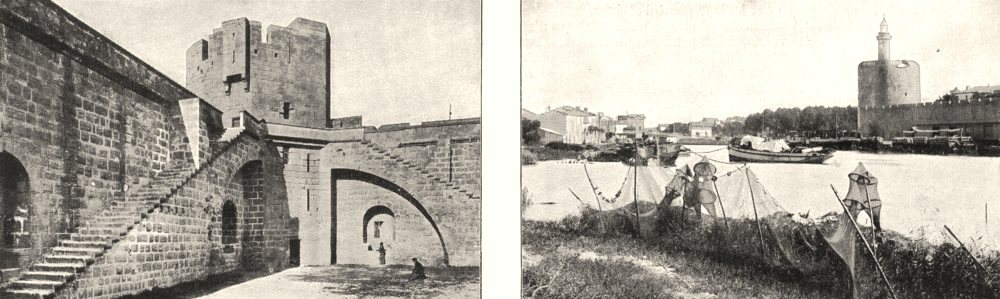 GARD. Aiguesmortes. Tour Bourguignons; Tour constance canal 1900 old print
