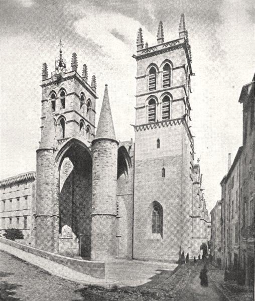 Associate Product HÉRAULT. Cathédrale de Montpellier 1900 old antique vintage print picture