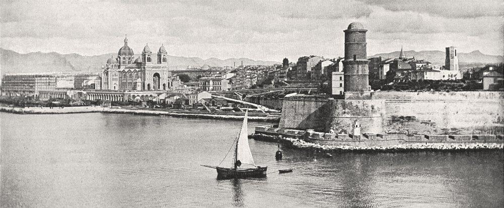 Associate Product BOUCHES- DU- RHÔNE. Arrivée Marseille. Phare, Joliette, Cathédrale 1900 print