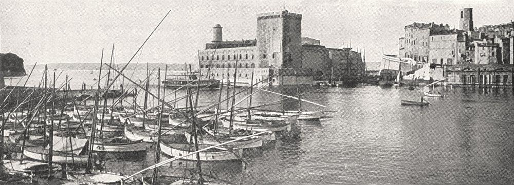 BOUCHES- DU- RHÔNE. Marseille. Entrée du Vieux port 1900 old antique print