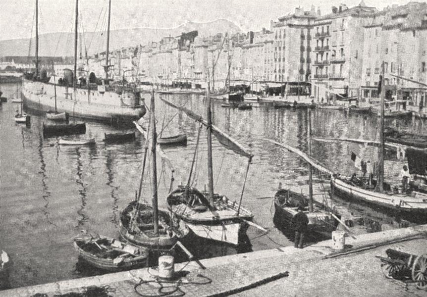 Associate Product VAR. Toulon. Le Quai du port 1900 old antique vintage print picture