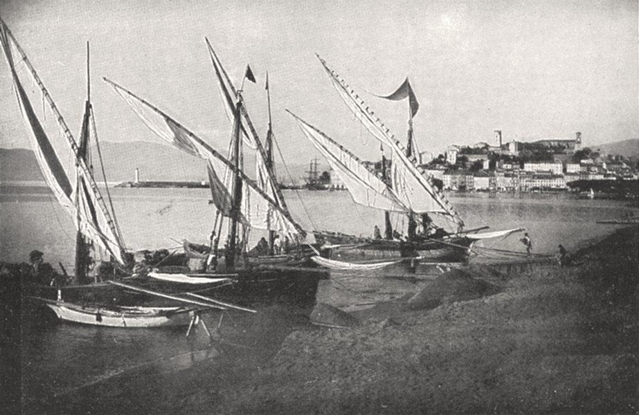 Associate Product ALPES- MARITIMES. Cannes. Bateaux a la Rive 1900 old antique print picture