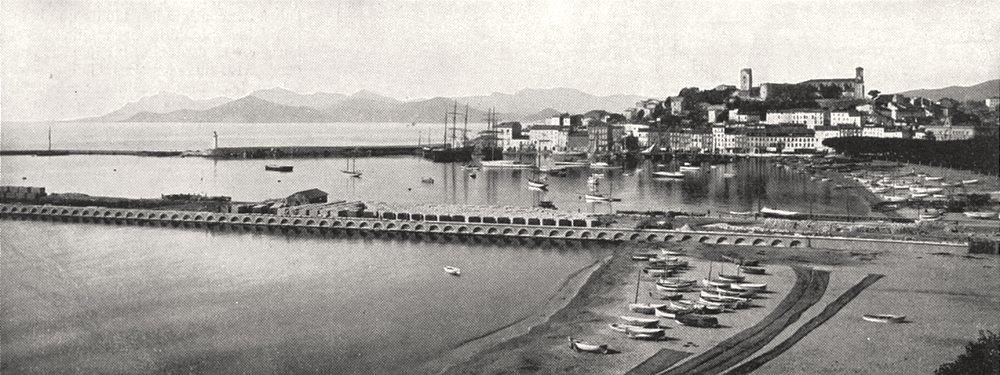 Associate Product ALPES- MARITIMES. Cannes, Le Port et le Mont Chevalier 1900 old antique print
