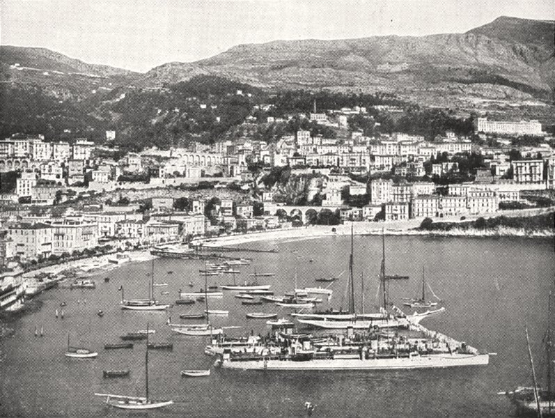 Associate Product MONACO. La Condamine, Entre Monaco et Monte- carlo 1900 old antique print