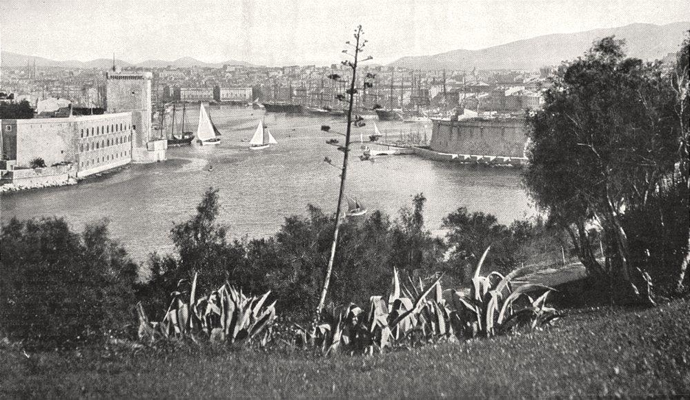 Associate Product BOUCHES- DU- RHÔNE. Marseille. Vieux port. Vue prise Pharo 1900 old print