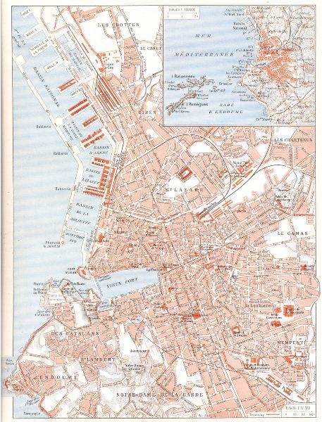 Associate Product BOUCHES- DU- RHÔNE. Marseille; Inset map of Méditerranée 1900 old antique