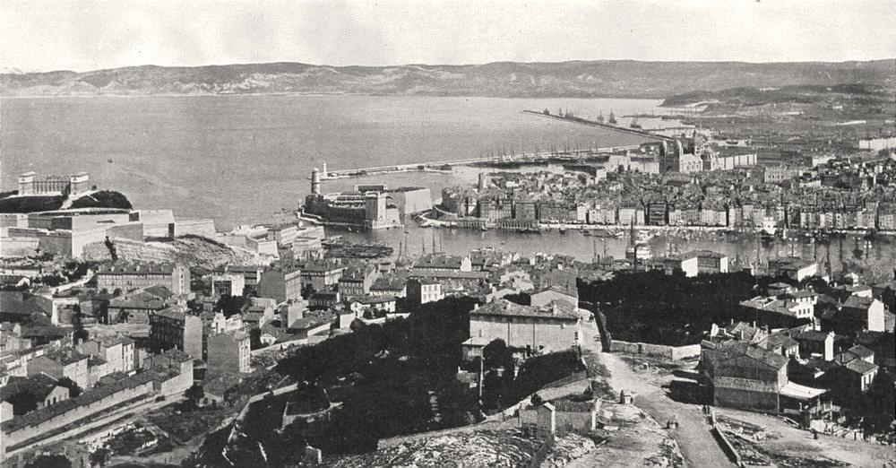 Associate Product BOUCHES- DU- RHÔNE. Marseille. Vue Générale Vieux port Joliette 1900 old print