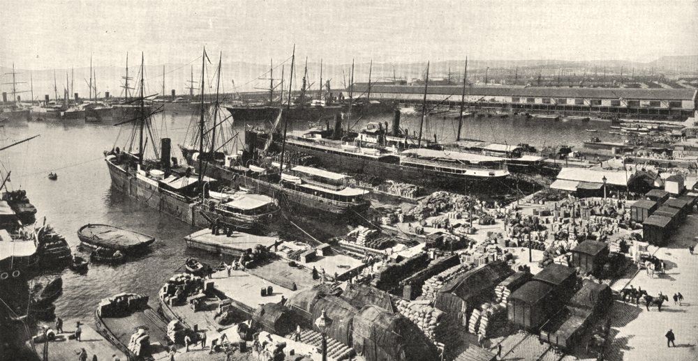 Associate Product BOUCHES- DU- RHÔNE. Marseille. Bassin du Port De La Joliette 1900 old print