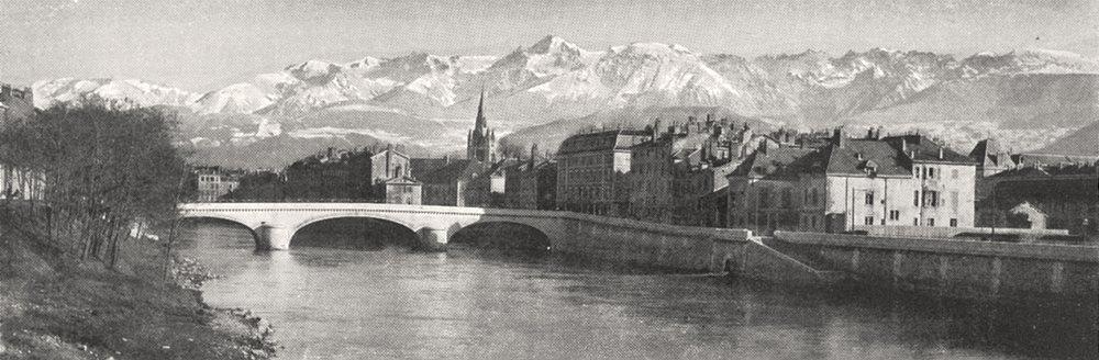 Associate Product ISÈRE. La Chaine de Belledonne vue de Grenoble 1900 old antique print picture