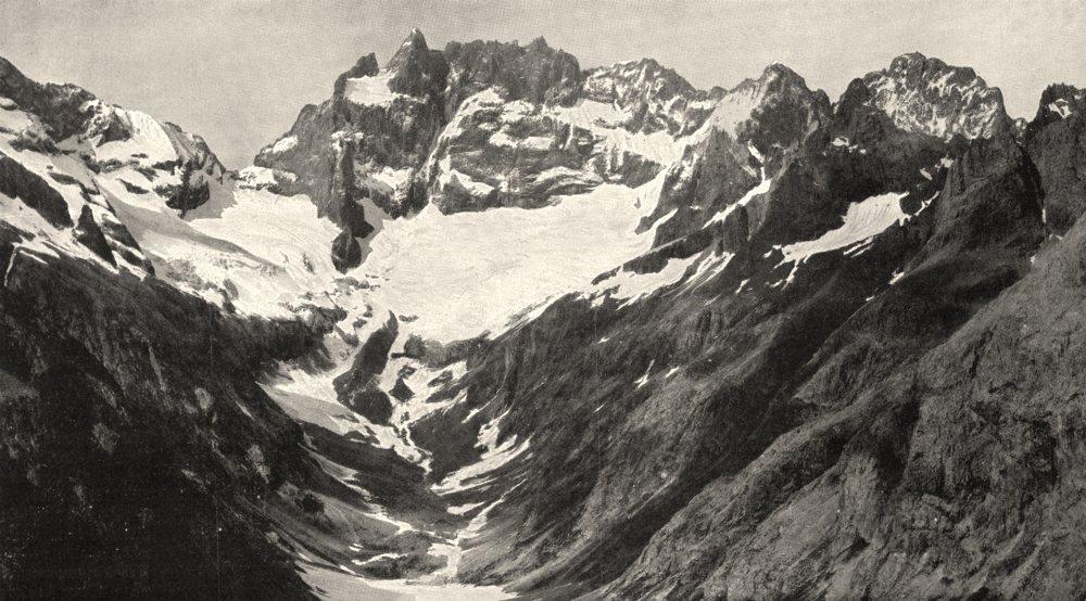 Associate Product HAUTES- ALPES. Meije glacier Étançons, vus Tête Maye 1900 old antique print