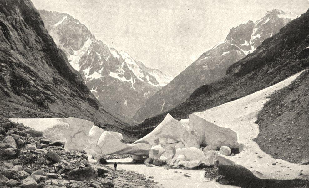Associate Product ISÈRE. Avalanche de Neige dans le Vallon de la Pilatte 1900 old antique print