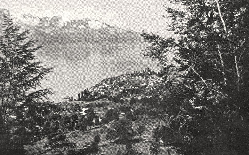Associate Product SWITZERLAND. Clarens, Sur les Bords du Léman 1900 old antique print picture
