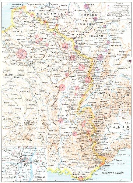 Associate Product FRANCE. Frontiere Nord-est; Inset Environs de Strasbourg.Forteresses 1900 map