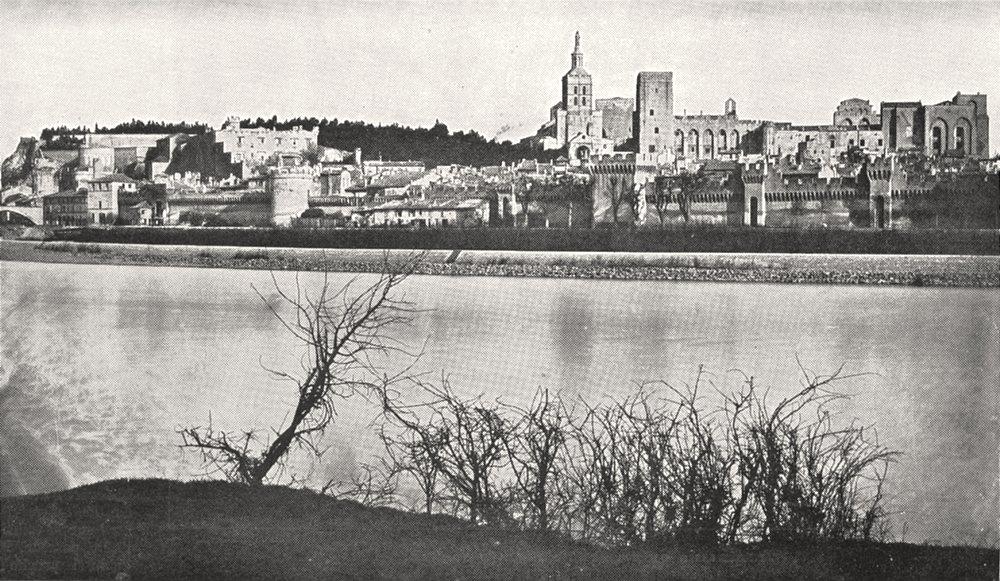 Associate Product VAUCLUSE. Avignon. Rhône, Terrasse doms Chateau papes 1900 old antique print