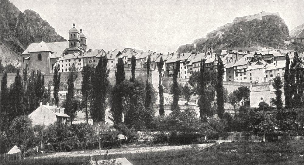 Associate Product HAUTES- ALPES. Briançon, vue prise de la route du Lautaret 1900 old print