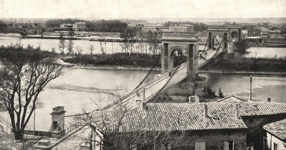 Associate Product FRANCE. Pont Suspendu sur le Rhône, de Beaucaire a Tarascon 1900 old print