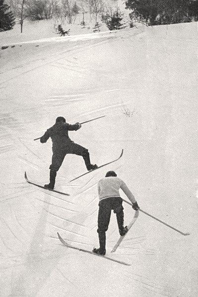 Associate Product SAVOIE. Skieurs Escaladant Une Pente 1900 old antique vintage print picture
