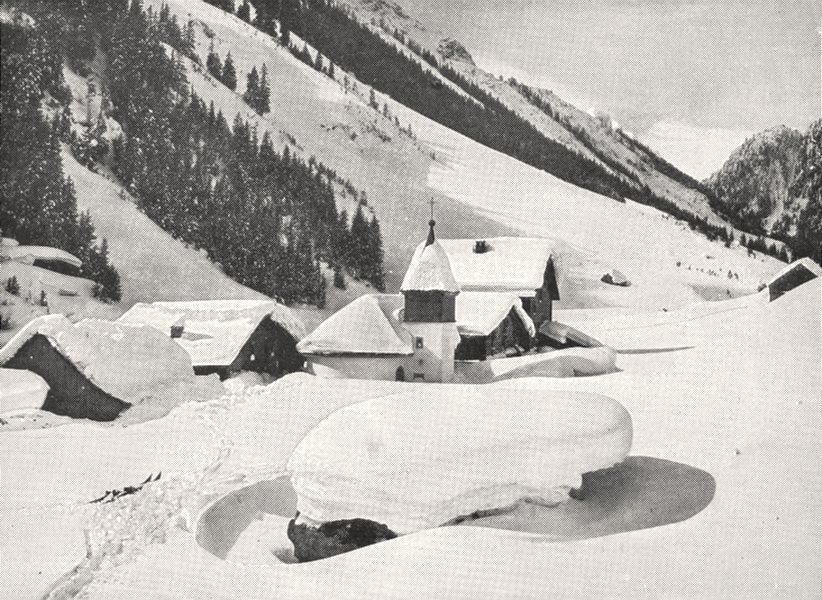 Associate Product SAVOIE. Climat des Alpes. Village en Hiver 1900 old antique print picture