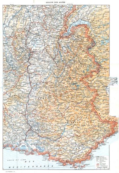 Associate Product SAVOIE. Region des Alpes 1900 old antique vintage map plan chart