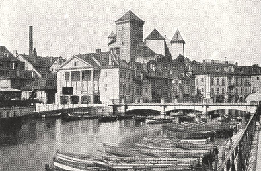 Associate Product HAUTE- SAVOIE. Annecy. Le Canal et le Vieux Chateau 1900 old antique print