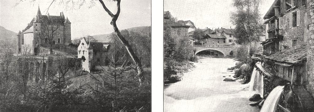 Associate Product ISÈRE. Chateau D'uriage; Allevard. Pont sur le Bréda 1900 old antique print