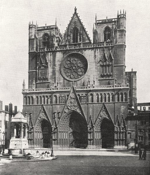 RHÔNE. Lyon. Cathédrale Saint- Jean 1900 old antique vintage print picture