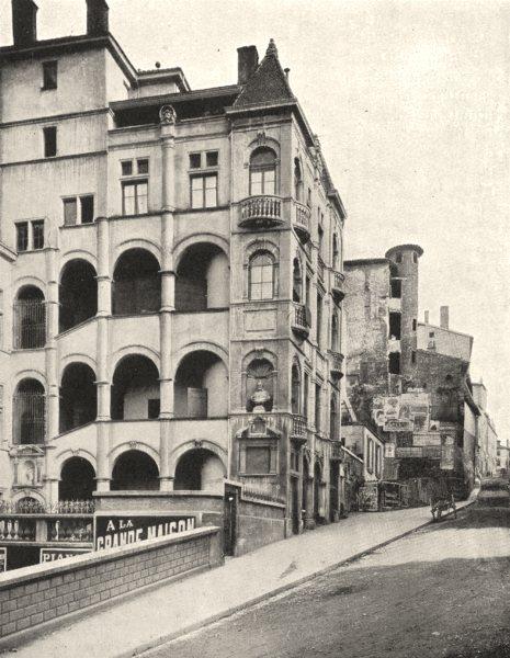 Associate Product RHÔNE. Vieux Lyon. La Montée Saint- barthélemy 1900 old antique print picture