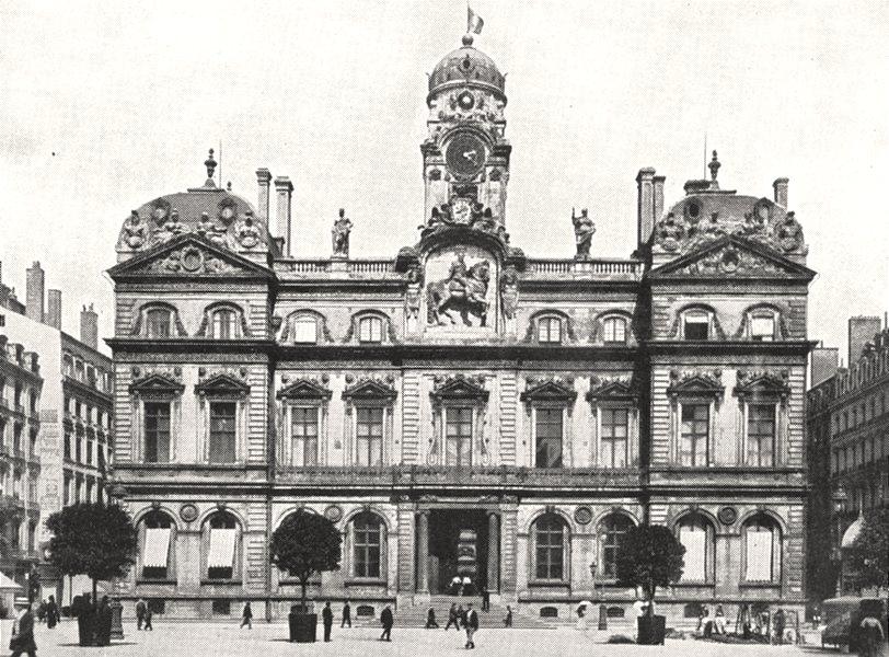 Associate Product RHÔNE. Lyon. Façade de L'Hôtel de ville 1900 old antique vintage print picture